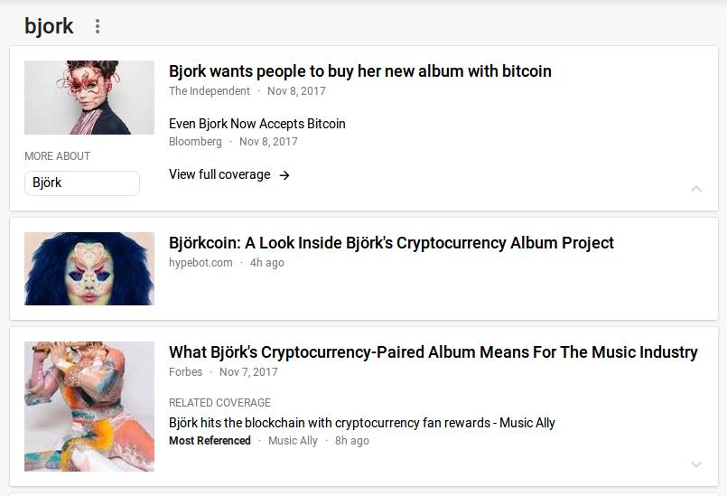 third hit on bjork on google news
