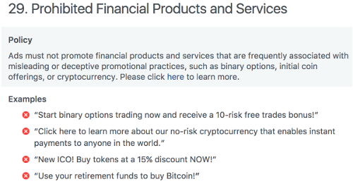 facebook prohibited financial products and services