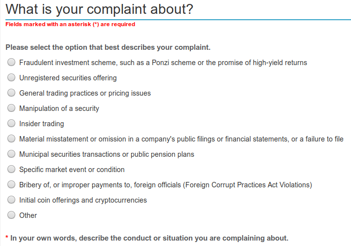 sec tips complaints referrals crypto